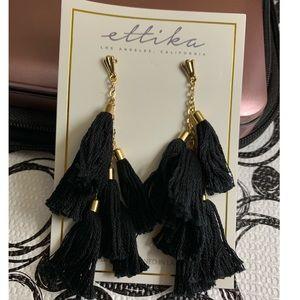 Ettika black tassel earrings